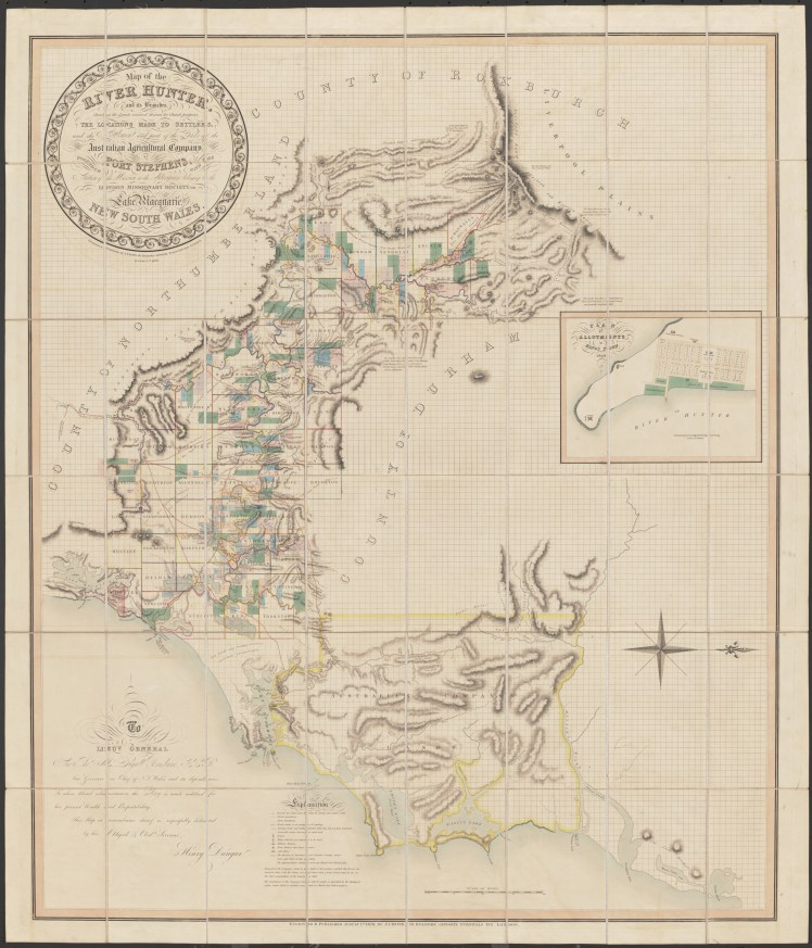 Map of the River Hunter, and its branches [cartographic material] : shewing the Lands reserved thereon for Church purposes, the Locations made to Settlers, and the Settlement and part of the Lands of the Australian Agricultural Company at Port Stephens together with the Station of the Mission to the Aborigines belonging to the London Missionary Society on Lake Macquarie, New South Wales - Click for Larger View (17MB)