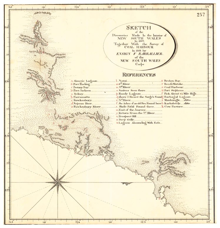 Sketch of the Discoveries Made In the Interior of NEW SOUTH WALES in 1802 Together With the Survey of COAL HARBOUR In 1801 by ENSIGN F BARRALLIER of the NSW SOUTH WALES Corps. (Courtesy of the National Archives of the UK)