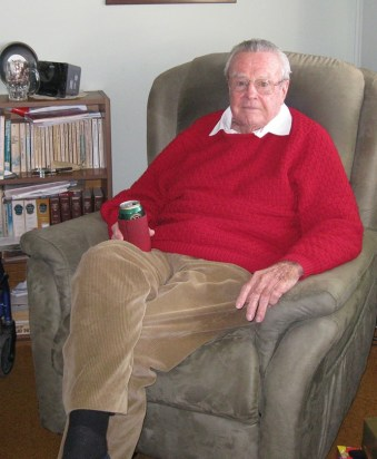 Ray in his favourite red jumper and favourite chair (with beer) – 2013