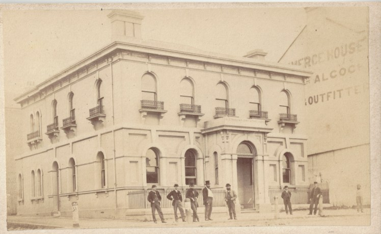 Australian Joint Stock Bank, (AJS) Newcastle, circa 22 October 1870 - 1 December 1870 (Photo Credit: Digitised by Anne Glennie from Glennie Family Albums) Click for larger view
