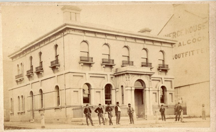 Australian Joint Stock Bank, (AJS) Newcastle, circa 22 October 1870 - 1 December 1870 (Photo Credit: Photographed by Beaufoy Merlin No. 58275. Digitised by Anne Glennie from Glennie Family Albums) Click for larger view