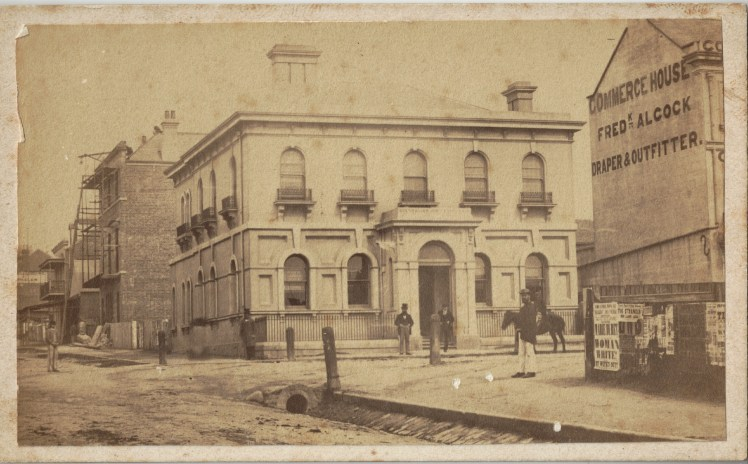 Australian Joint Stock Bank, Newcastle, 20 October 1870 (Photo Credit: Photographed by Beaufoy Merlin No.591777. Digitised by Anne Glennie from Glennie Family Albums)