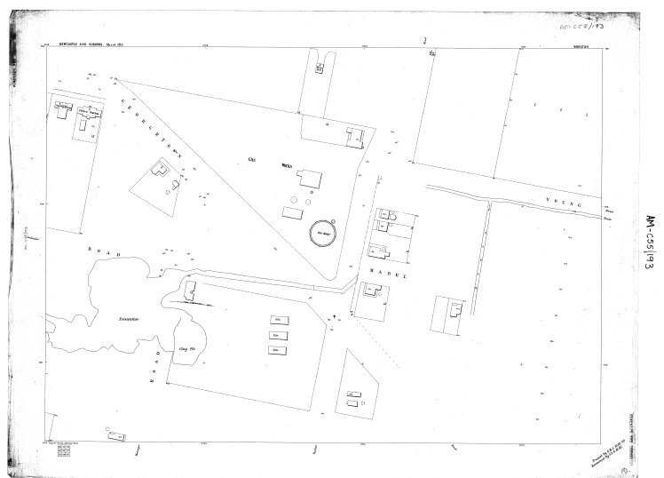 Circa 1897 Water Board Plan of Waratah Gas Works Site, traced and reexamined, October-November 1902.