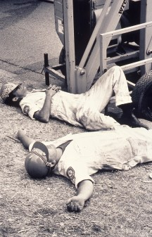 Exhausted Rescue Workers