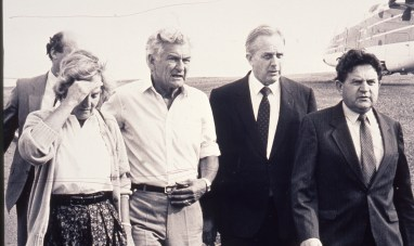 Prime Minister Bob Hawke inspects the damage.