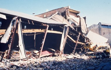 Earthquake - External view of club with tables visible - Old Newcastle Workers Club, NSW
