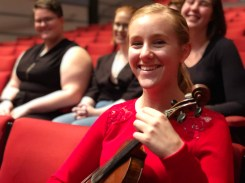 Singers – Alexandra Cuthbert-Freese (Evangeline); Gabrielle Newland (Try again, Johnnie); Eden Dennis (Three Little Maids) and Violinist Amanda Hovenden for the Victoria Theatre 3D Reconstruction Project