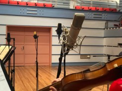 Microphone and 200-year old Italian violin made by Joseph Dall'Aglio for Victoria Theatre 3D Reconstruction Project