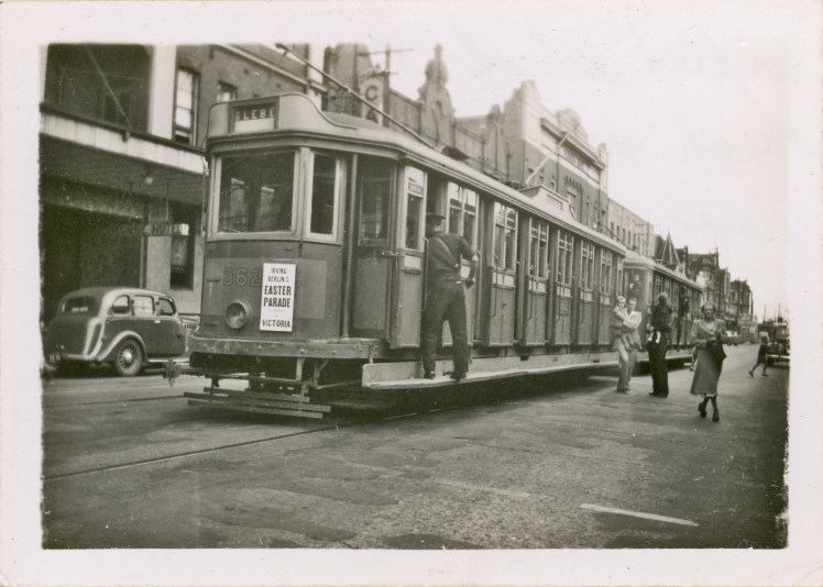 Coupled set of L/P class trams (#362 and unknown) on Scott Street outside Newcastle Station.