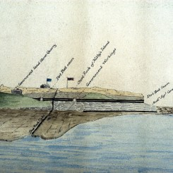 Signal Hill (now Fort Scratchley) from William Keene (Examiner of Coal Mines) Copy of Stratigraphic sketch from Nobby's Island Newcastle to Burwood, showing coal seams and their Order of Superposition. 31 May 1854. Photographed by Bruce Turnbull. Archives Authority Map No. SZ325 (Courtesy State Archives of NSW)