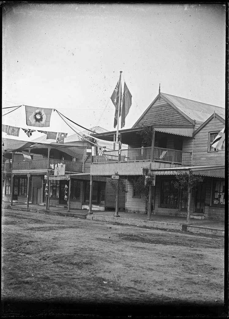 Photo shows the decorations on King Street in Raymond Terrace. Date of image is unknown.