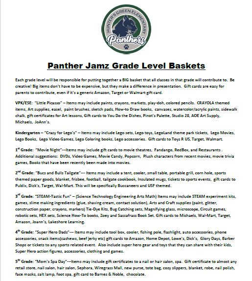 Panther Jamz Hunter S Green Elementary Pta