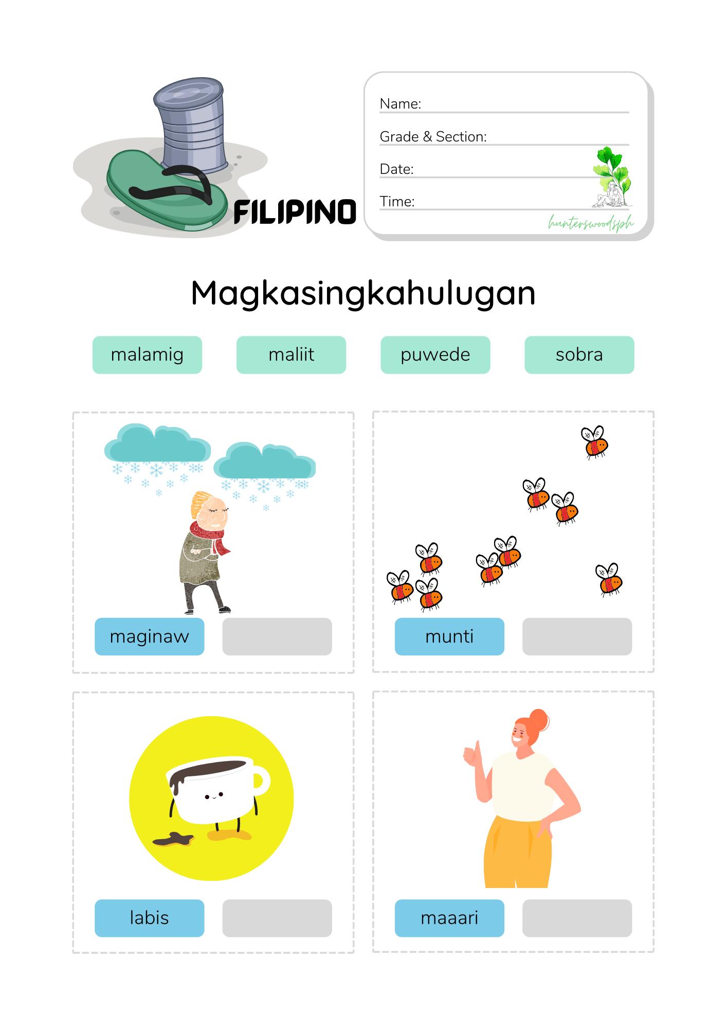 0 Salitang Magkasingkahulugan with Pictures Worksheet for Kindergarten