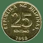 Philippine money 25 centavo coin