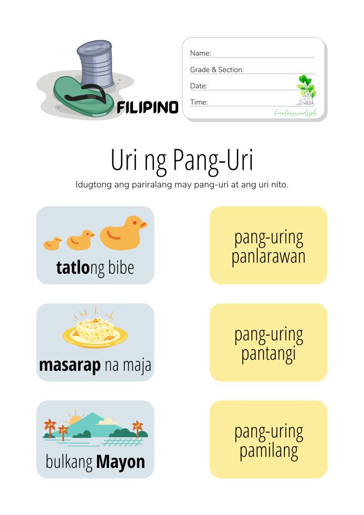 Uri ng Pang-uri Worksheet for Grade 1