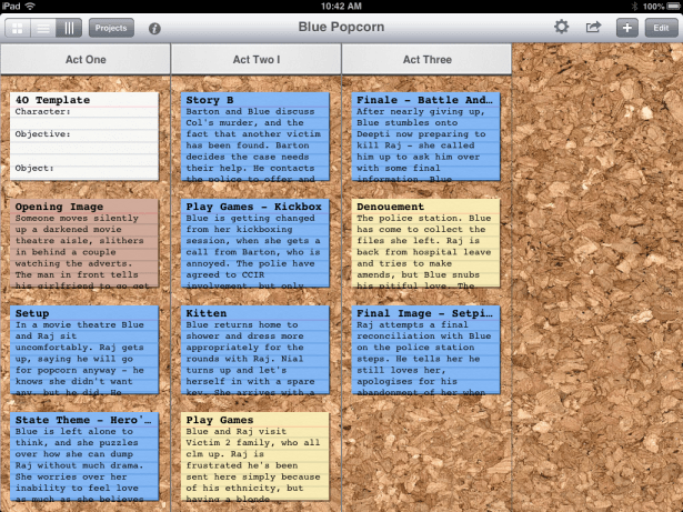 Index Card App for iPAD - the scene cards.