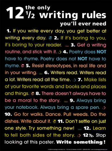The 12 1/2 Writing Rules poster - http://www.allposters.com/-sp/The-Only-12-1-2-Writing-Rules-You-ll-Ever-Need-Posters_i1334412_.htm?aid=422470787&LinkTypeID=2&PosterTypeID=1&DestType=7#