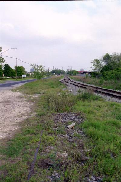 Looking back toward the switch, now removed, from the MOW siding