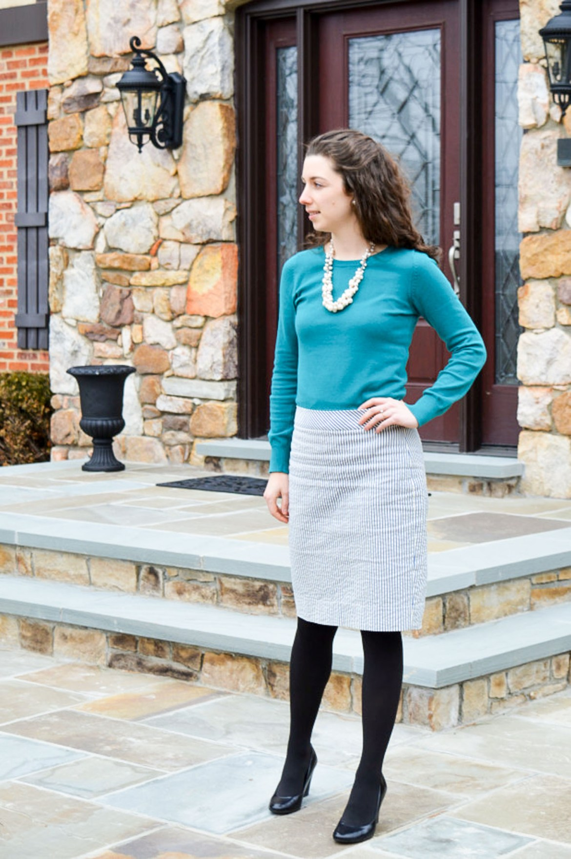 Pencil skirt + tights + wedges \\ Easy winter business casual