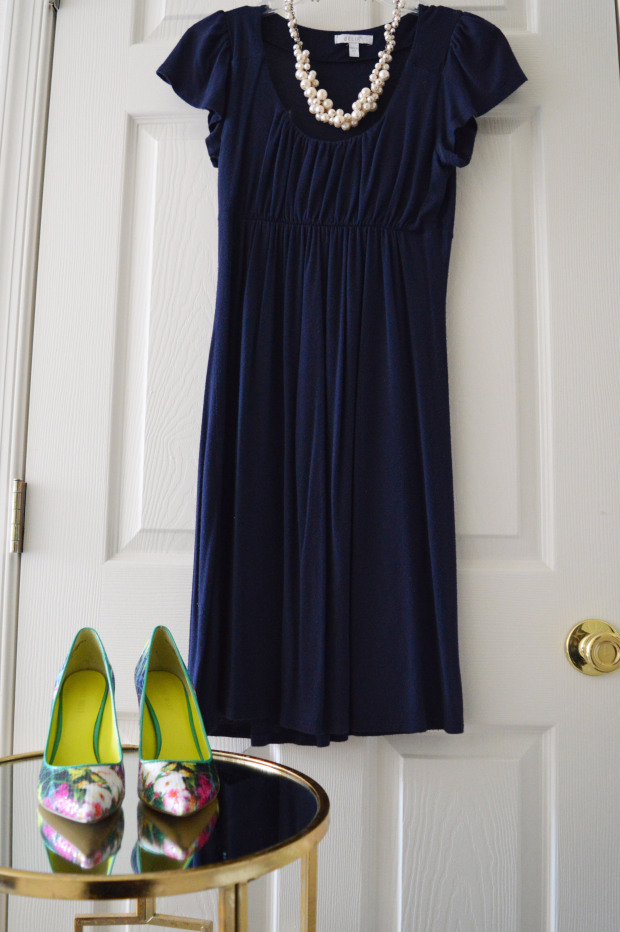 What to Wear | Blue knit dress + statement necklace + colorful statement heels