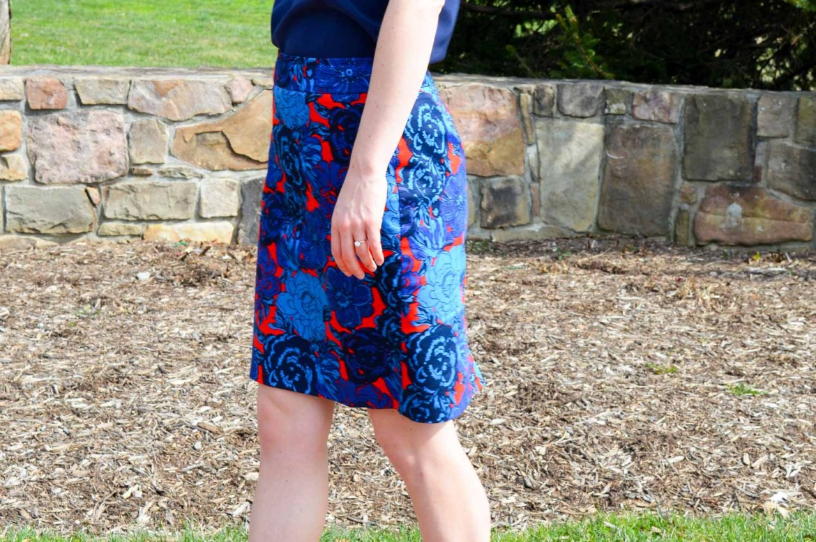 Go for the unexpected - blue floral pencil skirt with red background