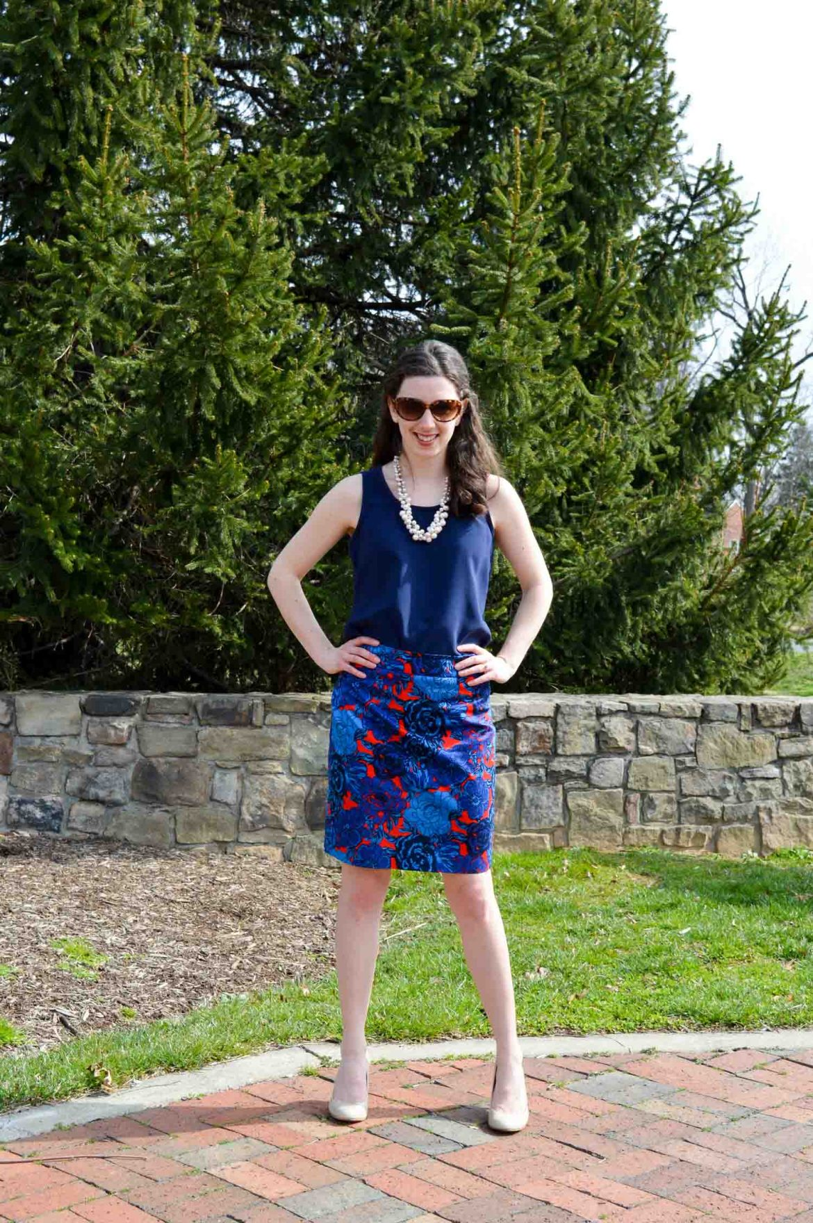 Navy top + red and blue skirt // Hunting for Pink Flamingos