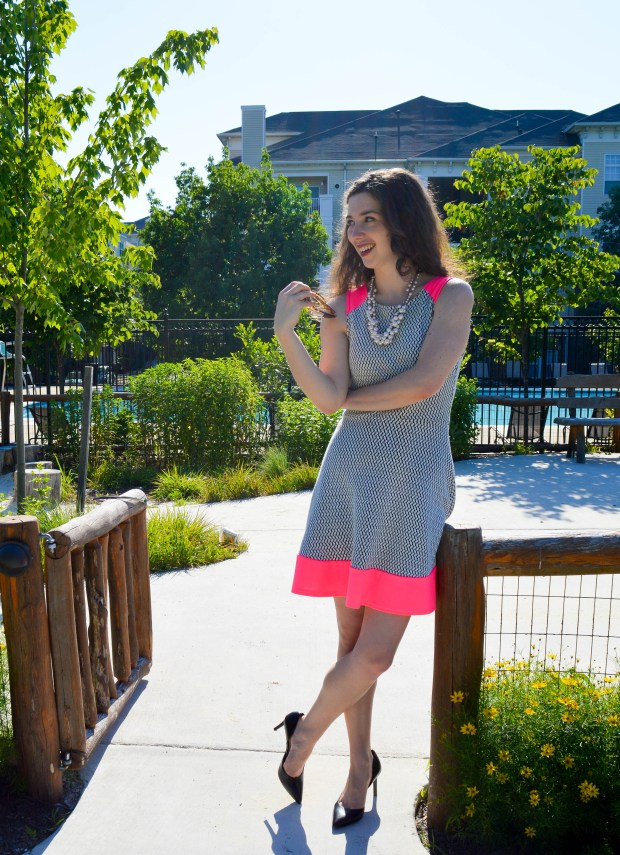 Fit and Flare Dress with pink accents + pearl necklace | Summer outfit on Hunting for Pink Flamingos