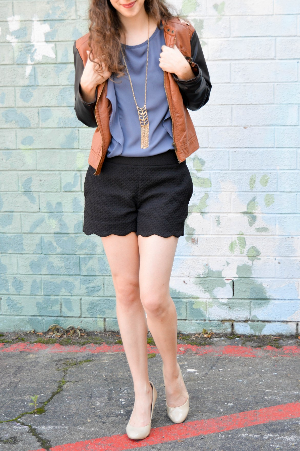 Pleather jacket + scalloped shorts