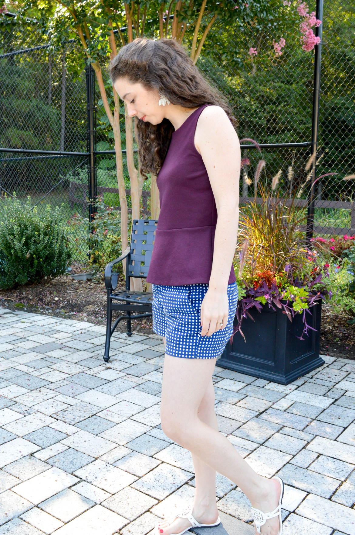 purple peplum top + blue & white polka dot shorts | Unexpected and fun summer outfit