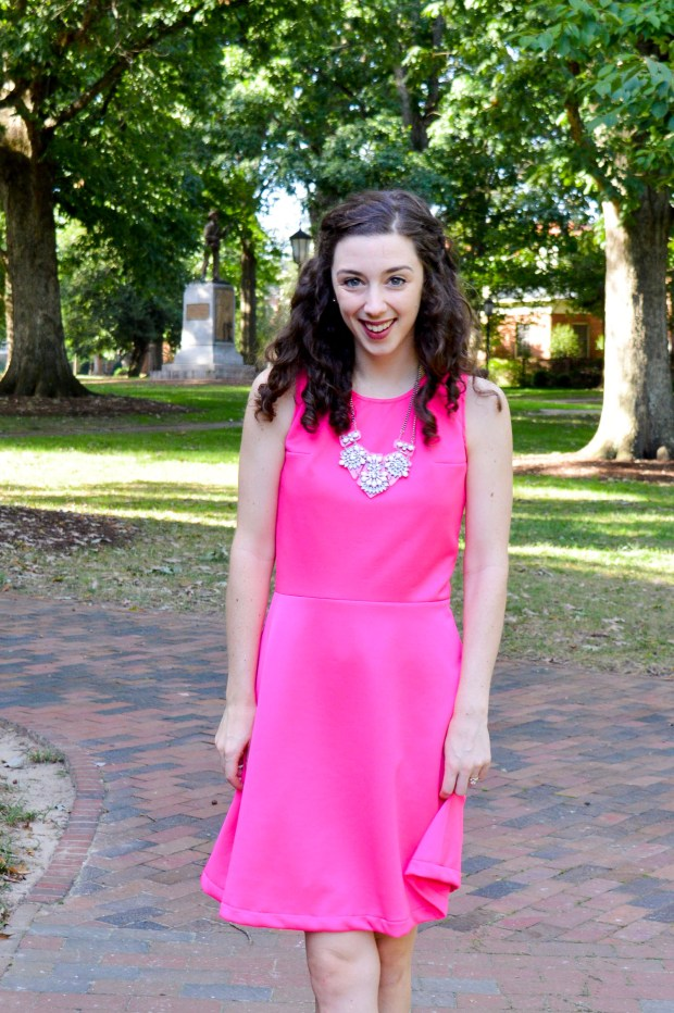 Hot pink dress + light pink necklace + nude heels