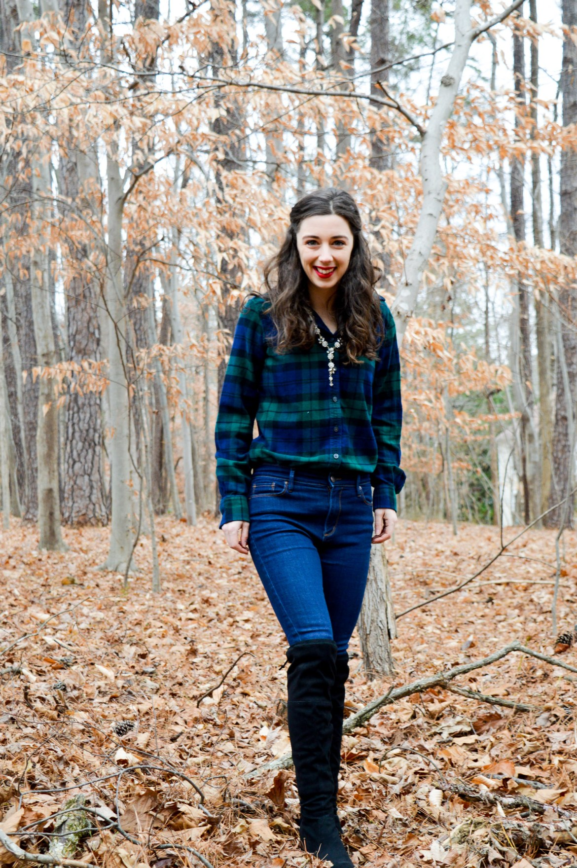 Plaid flannel top + Jeans + OTK boots