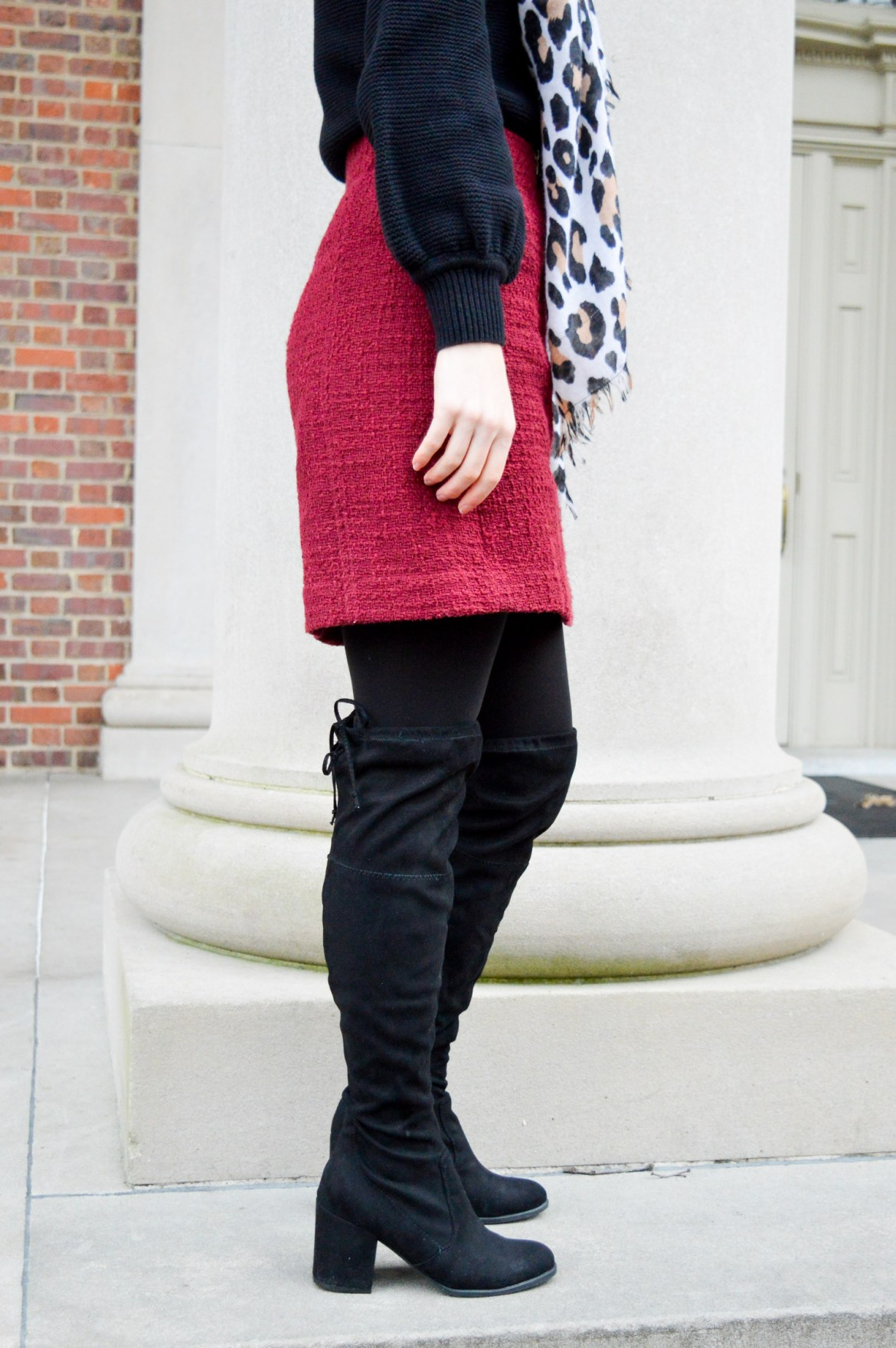 Winter Outfits // Black base with colorful skirt and scarf