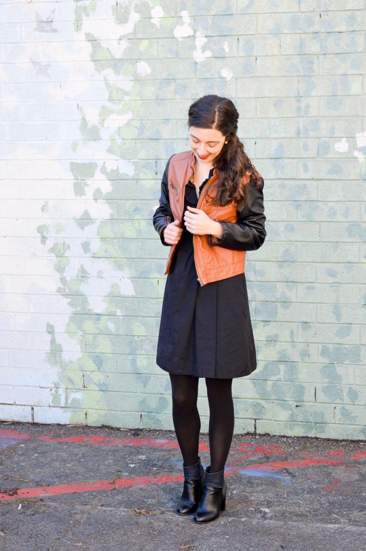 How to look chic and stay warm // Pair your little black dress with a jacket and booties