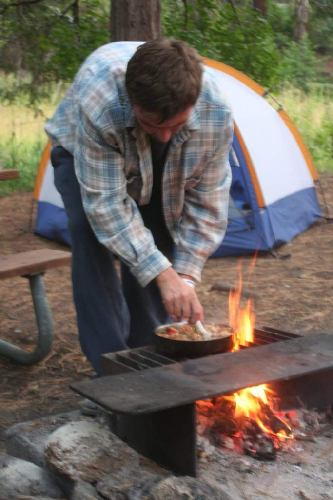 Nathan making breakfast at Sequoia National Park, California.