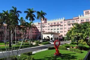 The main entranceat the Boca Raton Resort & Club. A Romantic Getaway in Florida.