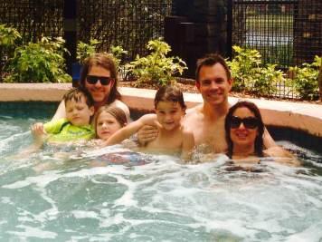 Enjoying the hot tub at the Wyndham Bonnet Creek in Orlando. A great off-site hotel at Disney World.