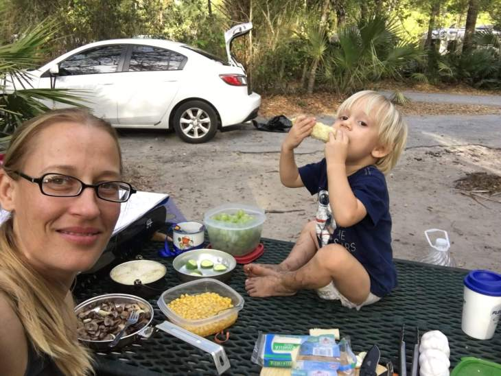 Keep food simple when tent camping with a toddler. For more Family Travel Tips, join us at www.HuntingforRubies.com