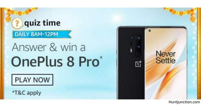 Amazon 7th Oct 2020 Quiz & Win OnePlus Pro Mobile Only 1 Lucky Winner