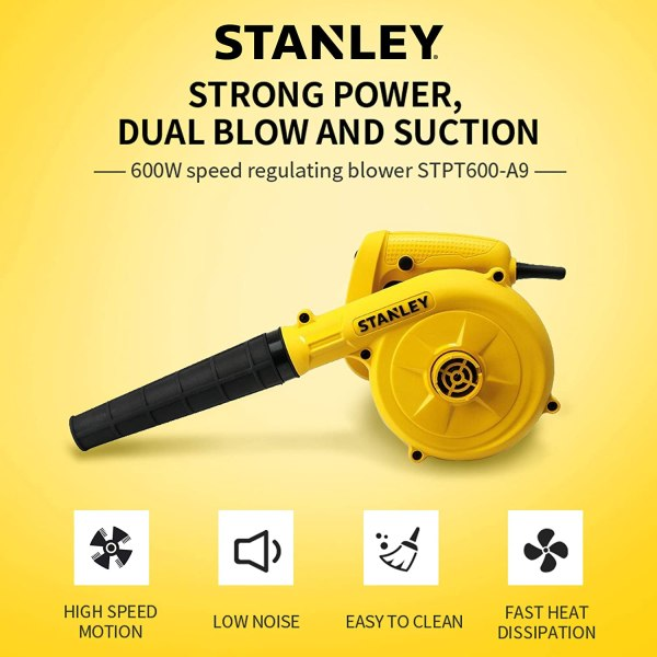 Stanly STPT600 600W Variable Speed Blower (Yellow and Black)