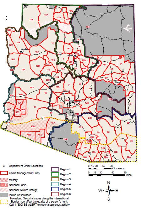 Map Of Unit 5a Arizona.Arizona Game Management Units Hunt Now Arizona