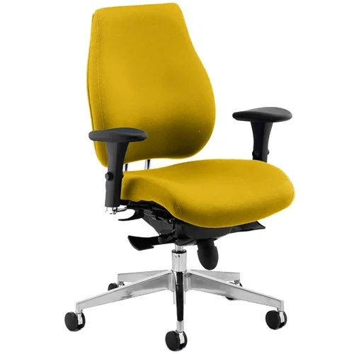 yellow office chair steel photo chiro plus high back ergonomic posture sunset