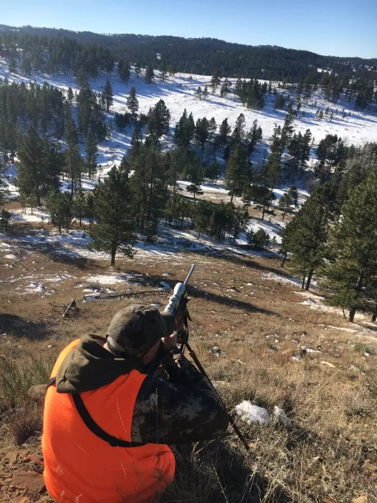 A hunter taking aim at a mule deer in Montana