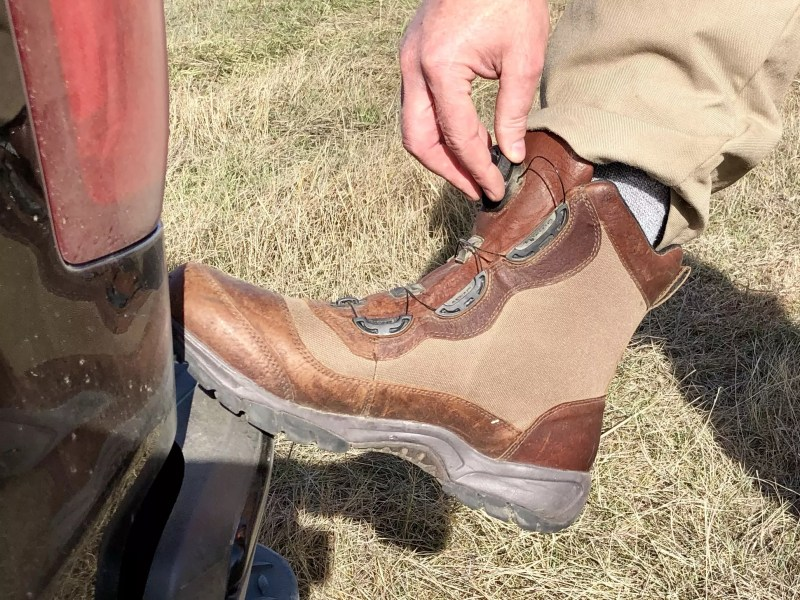 Adjusting the fit on LL Bean Kangaroo Upland Boots with Boa Fit System.