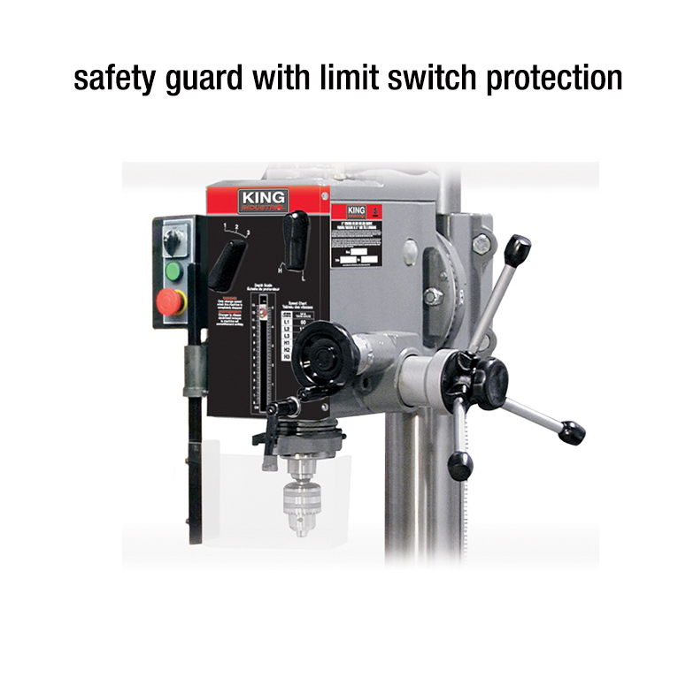 Safety guard for drilling machine with limit switch