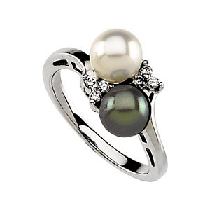 Round Black & White Cultured Akoya Pearl 14k White Gold Ladies Ring