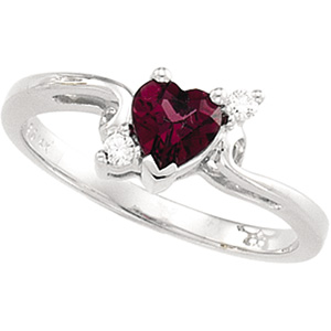 Heart Red Purple Pink Rhodolite Garnet 14k White Gold Ladies Ring