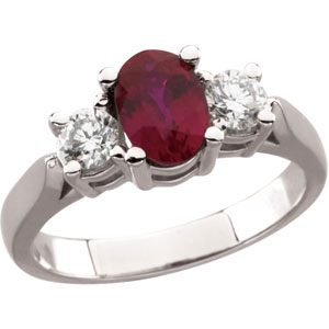 Oval Red Ruby 14K White Gold Ladies Ring