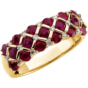 Round Red Ruby 14k Yellow Gold Ladies Ring