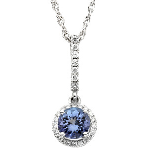 Round Purple Blue Tanzanite 14k White Gold Ladies Pendant