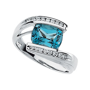 Oval Cushion Swiss Blue Topaz 14k White Gold Ladies Ring